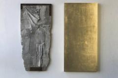 """Rekonstrukcja"", beton, drewno, szlagmetal, 112 x 140 x 5 cm,  2015 r."