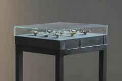 """""""Kolekcja"""", stal, szkło, beton, wosk, fotografia, 100 x 35 x 35 cm, 2015 r."""