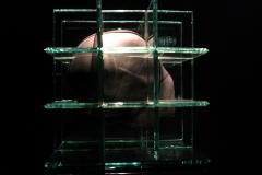 """Homo Sapiens"", szkło, ołów, 30cmX30cm, 2008r."