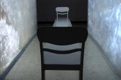 """""""Kładka"""", fragment instalacji multimedialnej, obiekt z drewna, 500x45x85cm, 2013 r."""