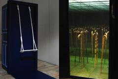 """Huśtawka Hellingera"", drewno,lustra, lustro weneckie, 215 x 280 x 80 cm, 2014 r."
