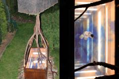 """""""W koronach drzew widać najlepiej"""", drewno, lustra, lampy LED, 200 x 100 x 375 cm, 2019 r."""