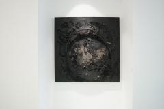 """""""Krąg XCIII"""", technika mieszana na sklejce, 150 x 150 cm , 2020 r."""