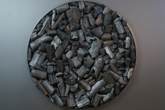 """""""Krąg XCIV"""", technika mieszana na sklejce, 150 x 150 cm, 2020 r."""