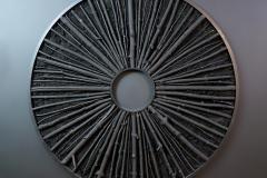 """""""Krąg XCIX"""", technika mieszana na sklejce, 150 x 150 cm, 2020 r."""