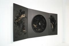 """""""Krąg XCVIII"""", technika mieszana na sklejce, tryptyk, 150 x 300 cm, 2020 r."""